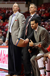 21 November 2015: Coaches Dan Muller, Luke Yaklich and Dean Oliver. Illinois State Redbirds host the Houston Baptist Huskies at Redbird Arena in Normal Illinois (Photo by Alan Look)