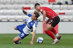 Luke McCormick battles with Lewis Montsma of Lincoln City of Bristol Rovers - Mandatory by-line: Matt Bunn/JMP - 10/10/2020 - FOOTBALL - LNER Stadium - Lincoln, England - Lincoln City v Bristol Rovers - Sky Bet League One