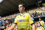 Jose Manuel Jurado of Watford walking out to the pitch from the tunnel before k/o. Barclays Premier League, Watford v Southampton at Vicarage Road in London on Sunday 23rd August 2015.<br /> pic by John Patrick Fletcher, Andrew Orchard sports photography.