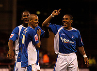 Photo: Jed Wee.<br /> Sheffield United v Birmingham City. Carling Cup. 24/10/2006.<br /> <br /> Birmingham's Neil Danns (R) and Cameron Jerome (L) celebrate with Dudley Campbell.
