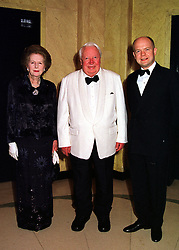 Left to right, BARONESS THATCHER, SIR EDWARD HEATH and MR WILLIAM HAGUE MP,  at a dinner in London on 29th February 2000.OBS 85