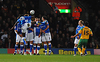 Photo: Ashley Pickering.<br /> Norwich City v Birmingham City. Coca Cola Championship. 13/03/2007.<br /> Youssef Safri of Norwich (yellow) comes close with a free kick in the first half