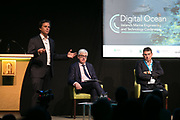 Date: 29/06/2017 Repro free:    Caption: Sebastian de Halleux, COO, Saildrone - Barry O'Dowd, IDA Ireland & Dr. Adrian Boyle, CEO, Cathx Ocean listen on photo: xposure