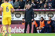 Burnley Manager Sean Dyche shouts instructions to his players. Premier League match, Burnley v Crystal Palace at Turf Moor in Burnley , Lancs on Saturday 5th November 2016.<br /> pic by Chris Stading, Andrew Orchard sports photography.