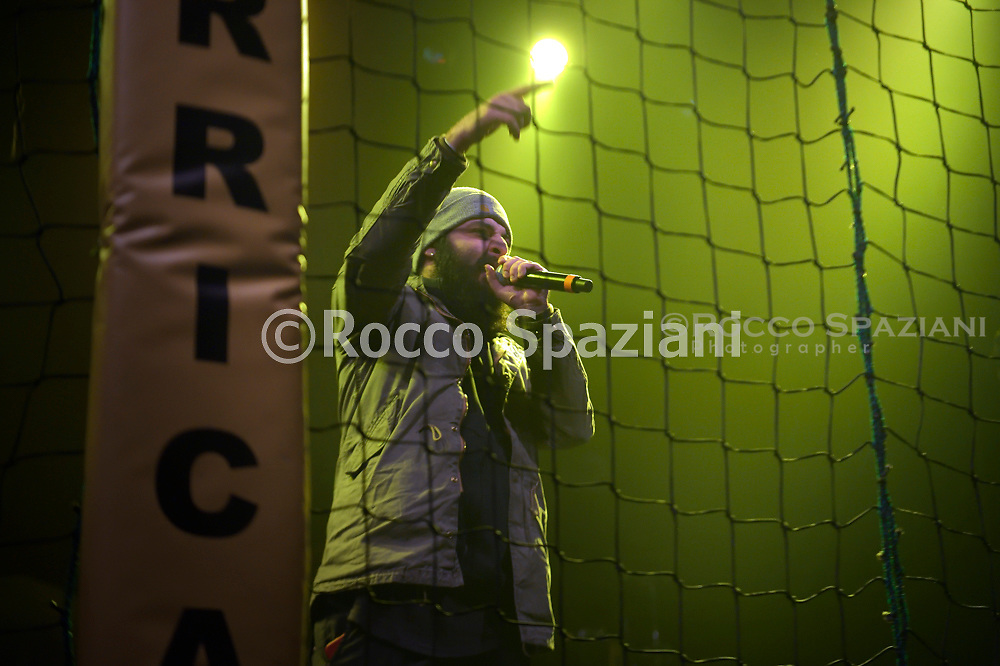 """The young Italian singer rapper Why-Du finalist contestant of the """"Hurricane Tournament"""" competition, organized by the Roman rapper Mezzosangue in concert at the Atlantic in Rome. Rome (Italy),January 25th ,2020"""