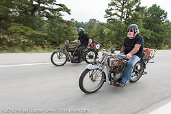 Utahns Rick Salisbury (R) on his 1916 Excelsior beside mechanic Kyle Rose on his 1916 Excelsior during the Motorcycle Cannonball Race of the Century. Stage-6 from Cape Girardeau, MO to Springfield, MO. USA. Thursday September 15, 2016. Photography ©2016 Michael Lichter.