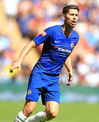 """Chelsea's Jorginho during the Community Shield match at Wembley Stadium, London. PRESS ASSOCIATION Photo. Picture date: Sunday August 5, 2018. See PA story SOCCER Community Shield. Photo credit should read: Adam Davy/PA Wire. RESTRICTIONS: EDITORIAL USE ONLY No use with unauthorised audio, video, data, fixture lists, club/league logos or """"live"""" services. Online in-match use limited to 75 images, no video emulation. No use in betting, games or single club/league/player publications."""
