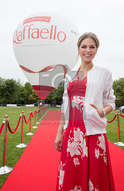 Repro Free: 10/06/2016 Amy Huberman unveils the Raffaello hot air balloon experience in Merrion Square open to the public Friday 10th and Saturday 11th June. Picture Andres Poveda