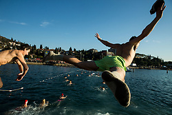 People plunge during the traditional New Year's jump into the Adriatic sea, on January 1, 2017 in Portoroz/Portorose, Slovenia. Photo by Vid Ponikvar / Sportida
