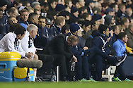 Steve McClaren, the Newcastle United manager looks downwards in the dugout during the 2nd half. Barclays Premier league match, Tottenham Hotspur v Newcastle Utd at White Hart Lane in London on Sunday 13th December 2015.<br /> pic by John Patrick Fletcher, Andrew Orchard sports photography.