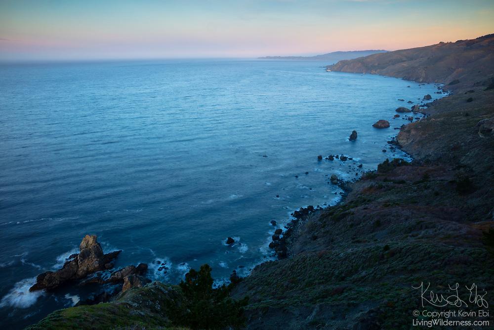 Pacific Ocean waves crash into rocks along the California Coast in Marin County, north of Muir Beach.