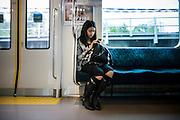 TOKYO, JAPAN - 10 NOVEMBER 2012 - Gotanda in the Meguro ku. The train over the meguro river. [FR] Les passerelles qui enjambe la rivière Meguro a Gotanda