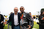 August 15, 2019:  Monterey Car Week, Stefano Domenicali, CEO of Lamborghini, Skyler Grey, Aventador S artist