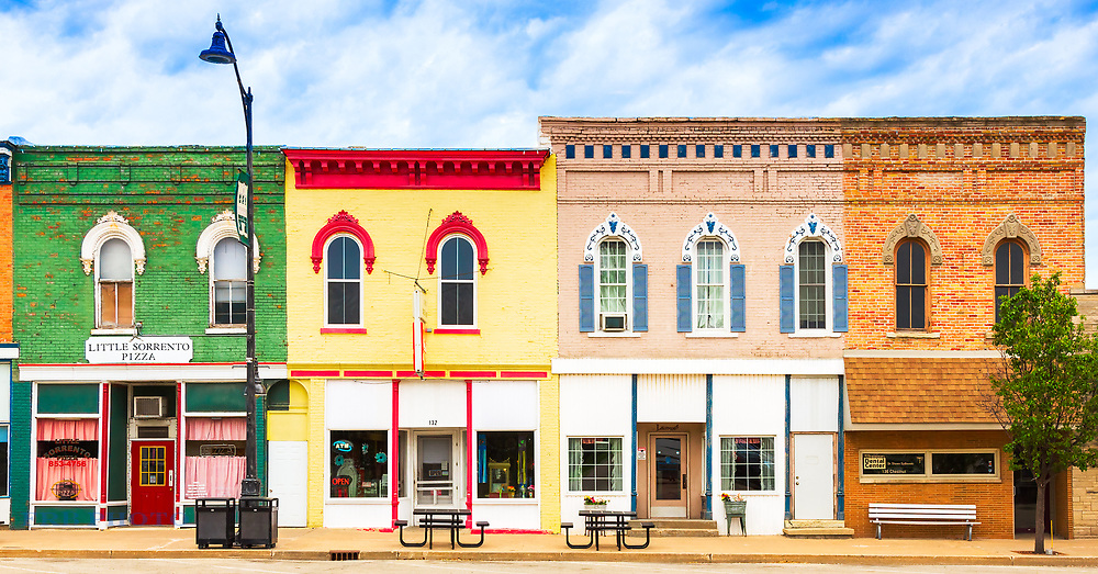 Building Facades in the Town Center around noontime on a day in May.