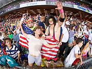 Fans celebrate a USA win during  in the Cathay Pacific/HSBC Hong Kong 7s at Hong Kong Stadium, Hong Kong, Hong Kong on 7 April 2017. Photo by Ian  Muir.*** during *** v *** in the Cathay Pacific/HSBC Hong Kong 7s at Hong Kong Stadium, Hong Kong, Hong Kong on 7 April 2017. Photo by Ian  Muir.