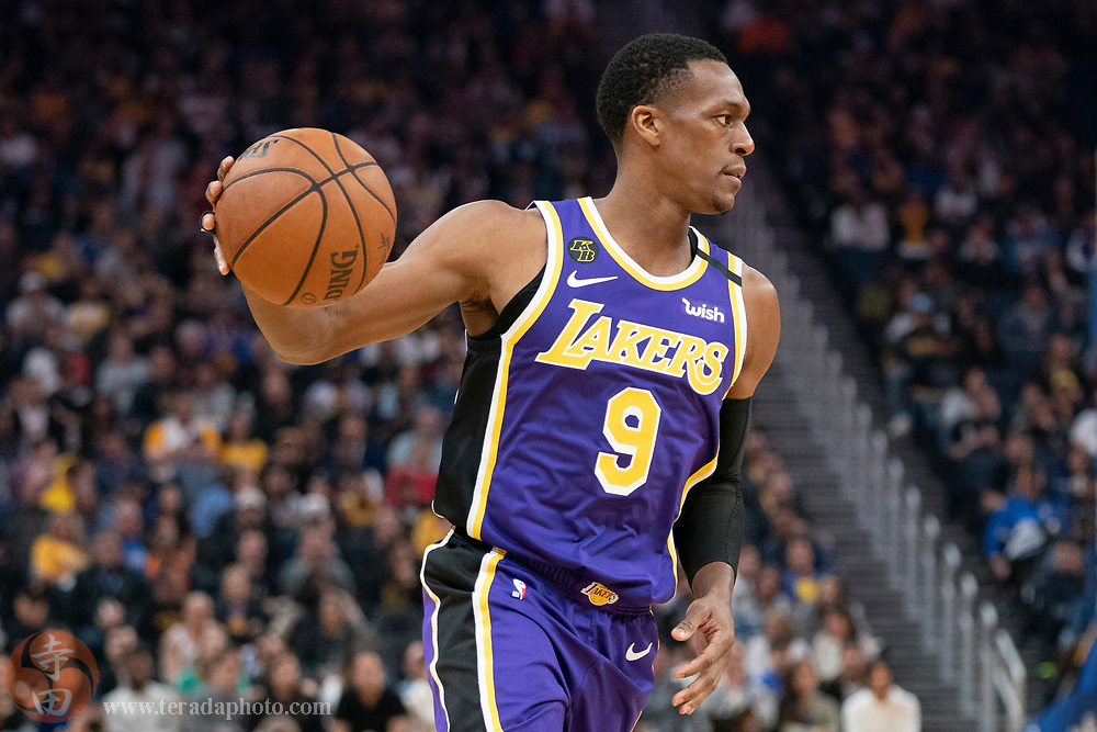 February 27, 2020; San Francisco, California, USA; Los Angeles Lakers guard Rajon Rondo (9) dribbles the basketball during the second quarter against the Golden State Warriors at Chase Center.