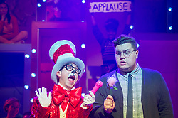 """© Licensed to London News Pictures. 23/11/2018. LONDON, UK. (L to R) Mark Pickering as Cat in the Hat and Scott Paige as Horton the Elephant perform during the photocall for Immersion Theatre's performance of """"Seussical the Musical"""" at Southwark Playhouse.  Shows take place 22 November to 29 December 2018.  Directed by James Tobias, the fantastical world of Dr. Seuss is brought to life in a musical co-conceived by Monty Python's Eric Idle.  Photo credit: Stephen Chung/LNP"""