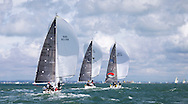 Premier Flair (GBR8410R) leads Incognito (GBR4070L) racing in IRC class 2, on the opening day of Aberdeen Asset Management Cowes Week. The event began in in 1826 and plays a key part in the British sporting summer 'season'. It now stages up to 40 daily races for around 1,000 boats and is the largest sailing regatta of its kind in the world with 8,500 sailors competing.<br /> Picture date Saturday 2nd August, 2014.<br /> Picture by Christopher Ison. Contact +447544 044177 chris@christopherison.com