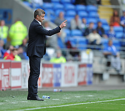 Cardiff City Manager, Ole Gunnar Solskjær gives his players directions.  - Photo mandatory by-line: Alex James/JMP - Mobile: 07966 386802 30/08/2014 - SPORT - FOOTBALL - Cardiff - Cardiff City stadium - Cardiff City  v Norwich City - Barclays Premier League
