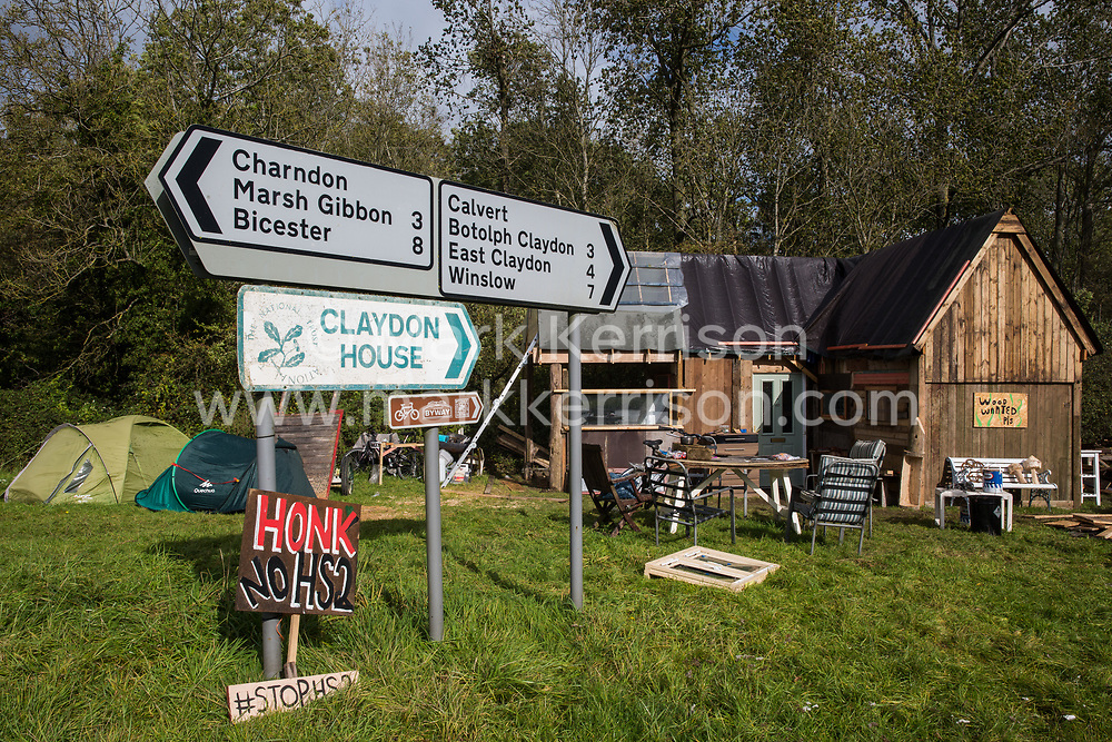 A small camp recently set up by anti-HS2 activists using wood and other resources donated by local residents is pictured on 6 October 2020 in Calvert, United Kingdom. The camp, which is situated close to the Calvert Jubilee nature reserve where many trees have recently been felled by contractors working on behalf of HS2 Ltd, is one of several such protest camps set up by activists in order to resist the controversial £106bn HS2 high-speed rail link.