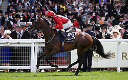 Luchador ridden by Jockey Luke Morris goes to post for the Queen Mary Stakes