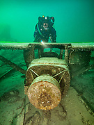KISS Spirit rebreather diver on the Aircraft Cessna wreck at Dutch Springs, Scuba Diving Resort in Pennsylvania