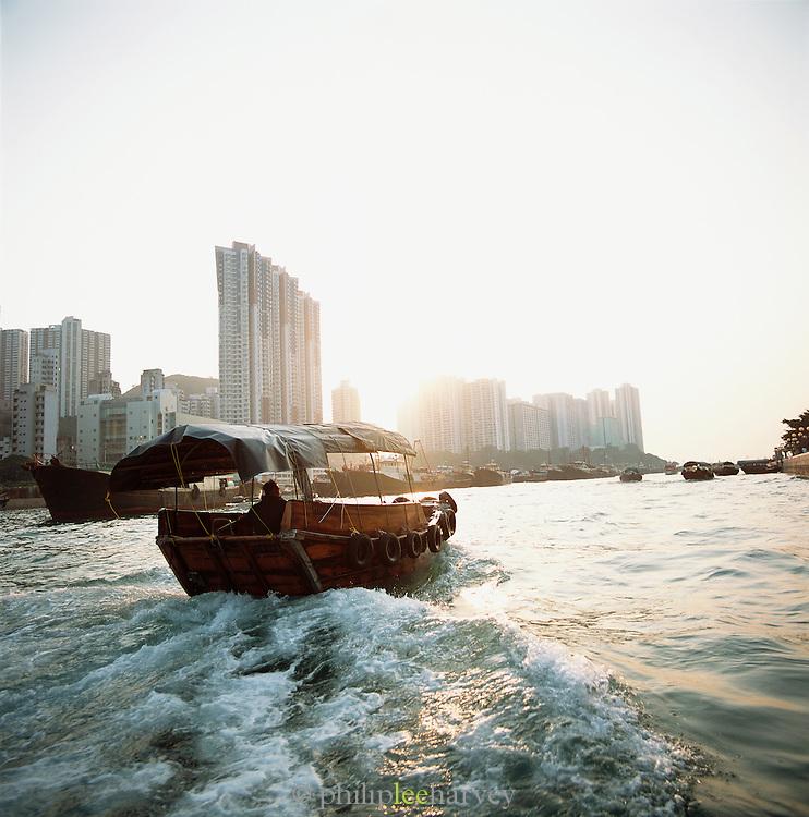 A Chinese Junk, traditionally a sailboat, in Hong Kong