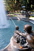 Detail of fountain in Strossmayer promenade, town square park, Petrinja, Croatia