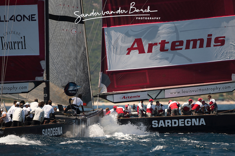 Artemis (SWE) vs All4One (GER/FRA), Artemis loses after All4One passes them on the second beat. La Maddalena, Sardinia, June 3rd 2010. Louis Vuitton Trophy  La Maddalena (22 May -6 June 2010) © Sander van der Borch / Artemis
