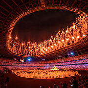 TOKYO, JAPAN - JULY 23: Fireworks during the Opening Ceremony for the Tokyo 2020 Summer Olympic Games at the Olympic Stadium on July 23, 2021 in Tokyo, Japan. (Photo by Tim Clayton/Corbis via Getty Images)