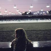 Small town rodeos, such as this one at Santa Barbara Festiva in  Santa Barbara, California, draw small crowds. ..