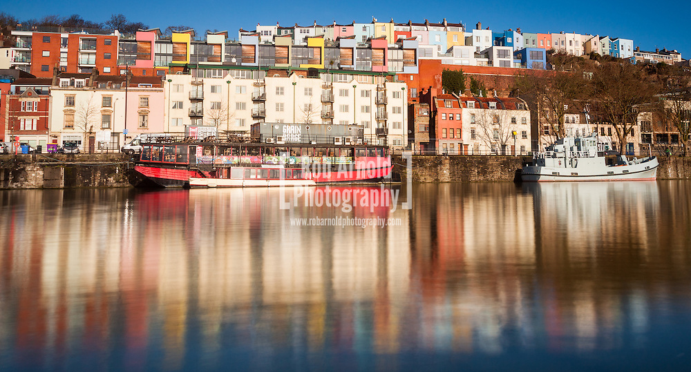 The colourful houses in Hotwells in Bristol on a sunny winter morning