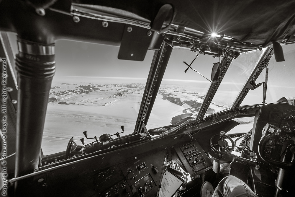 View from the flight deck of a LC-130 on froght from the South Pole