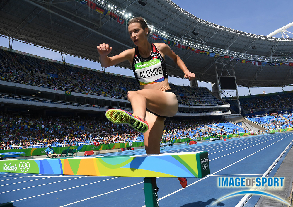 Aug 15, 2016; Rio de Janeiro, Brazil; Genevieve Lalonde (CAN) competes in the women's 3,000m steeplechase athletics event at Estadio Olimpico Joao Havelange during the Rio 2016 Summer Olympic Games.