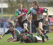 Twickenham, Surrey, England,  UK., 14/05/2003,  Quin's Will Greenwood, breaking through midfield, during, the Zurich Premiership Rugby match, NEC Harlequins vs Leicester Tigers, played at the Stoop Memorial Ground, [Mandatory Credit: Peter Spurrier/Intersport Images]