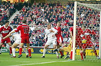 7/11/2004 - FA Barclayship Premiership - Middlesbrough v Bolton Wanderers - The Riverside Stadium<br />Bolton Wanderers' Henrik Pedersen (far left) scores the opening goal past Middlesbrough's goalkeeper Mark Schwarzer after coming on as a substitute.<br />Photo:Jed Leicester/Back Page Images