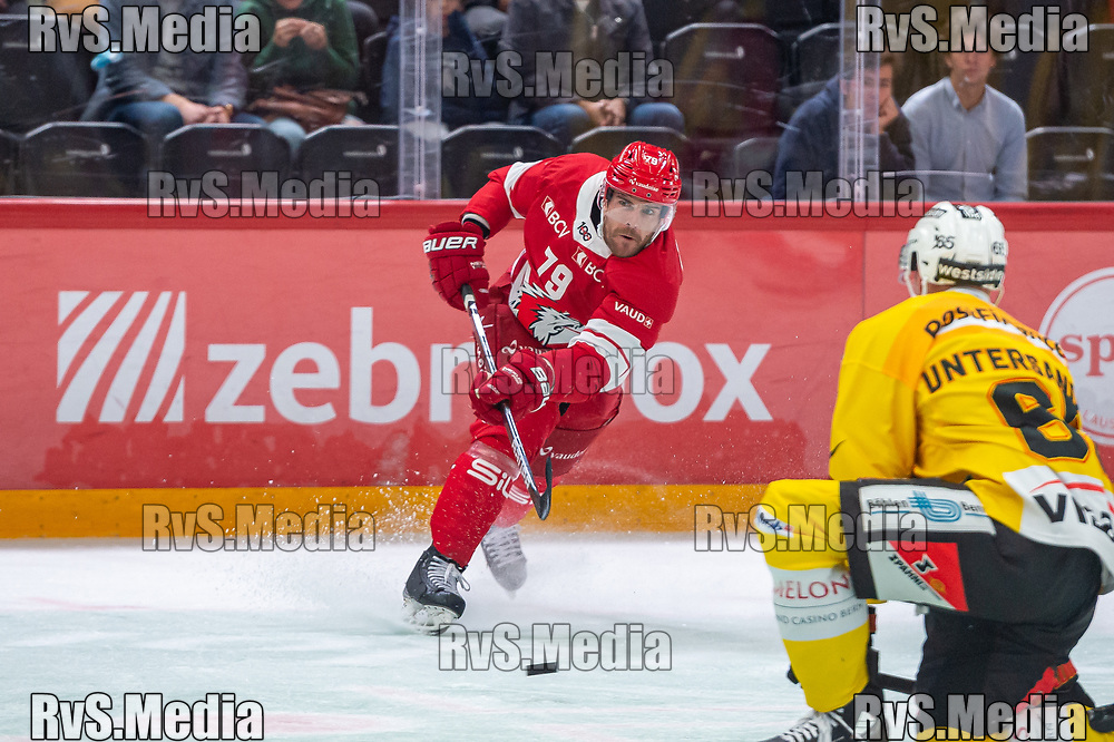 LAUSANNE, SWITZERLAND - SEPTEMBER 28: Joel Genazzi #79 of Lausanne HC in action during the Swiss National League game between Lausanne HC and SC Bern at Vaudoise Arena on September 28, 2021 in Lausanne, Switzerland. (Photo by Monika Majer/RvS.Media)