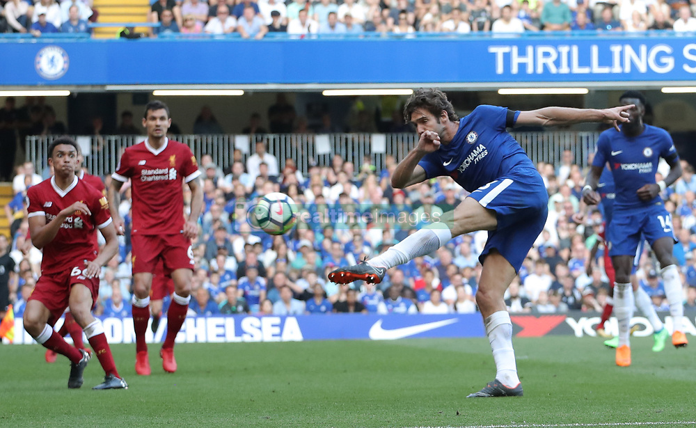 May 6, 2018 - London, Greater London, United Kingdom - Marcos Alonso of Chelsea takes a shot at goal during English Premier League match between Chelsea and Liverpool at Stamford Bridge, London, England on 6 May 2018. (Credit Image: © Kieran Galvin/NurPhoto via ZUMA Press)