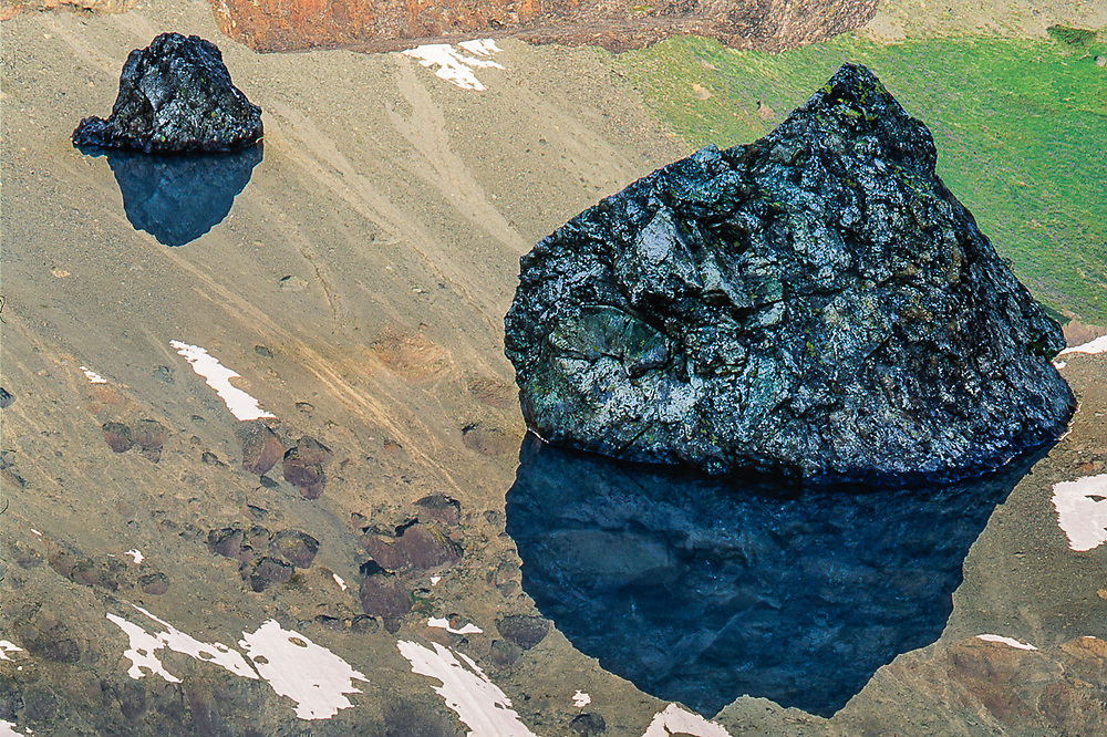 Alpine tarn relection design, August, Royal Basin, Olympic National Park, Washington, USA