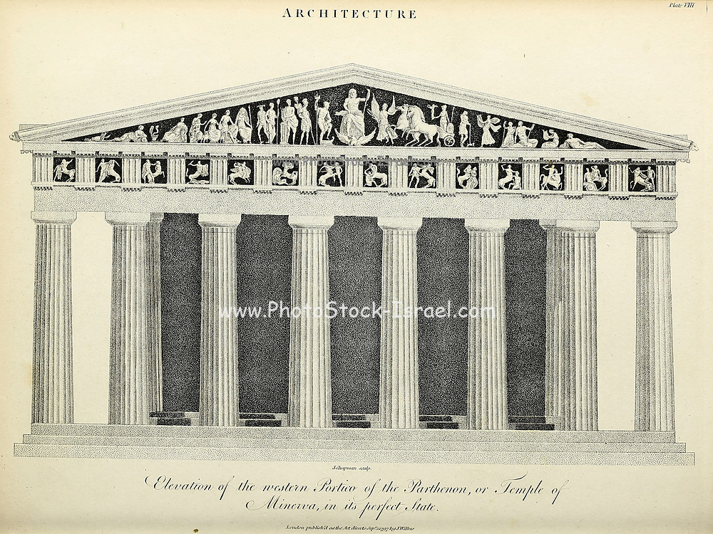 Elevation of the Western Portico of the Parthenon or Temple of Minerva [Acropolis, Athens, Greece] in its perfect state. Copperplate engraving From the Encyclopaedia Londinensis or, Universal dictionary of arts, sciences, and literature; Volume II;  Edited by Wilkes, John. Published in London in 1810