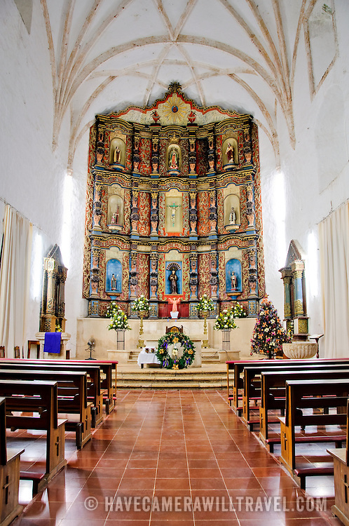 Main hall and altar of the Cathedral of San Bernadino, Valladolid, Yucatan, Mexico