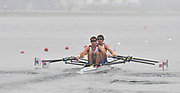 Shunyi, CHINA.  Heat of the Lightweight men's double sculls, GBR LM2X, Bow, Zac PURCHASE and Mark HUNTER, move away from the start, at the 2008 Olympic Regatta, Shunyi Rowing Course. Sunday 10.08.2008  [Mandatory Credit: Peter SPURRIER, Intersport Images]