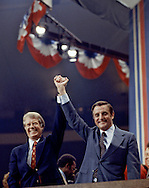 Jimmy Carter and Walter Mondale at the Democratic Convention in 1976...Photograph by Dennis Brack bs b 17