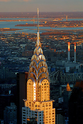 The Chrsyler building in late  November light, as seen from the Empire State Building, on the 20th of November, 2001.