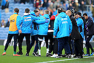 The Lincoln city staff and players celebrate after the final whistle. The Emirates FA cup 5th round match, Burnley v Lincoln City at Turf Moor in Burnley, Lancs on Saturday 18th February 2017.<br /> pic by Chris Stading, Andrew Orchard Sports Photography.