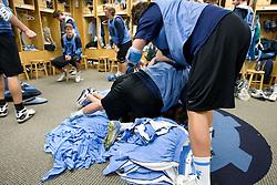 14 April 2008: North Carolina Tar Heels men's lacrosse defenseman Kerry McCormick (41) and midfielder Joe Howard (30) wrestle during a practice day in Chapel Hill, NC.