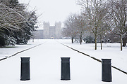 The first snowfall of winter lies untouched on the approach to Windsor Castle from Cambridge Gate on 24th January 2021 in Windsor, United Kingdom. The current spell of cold weather is expected to continue for another two or three days.