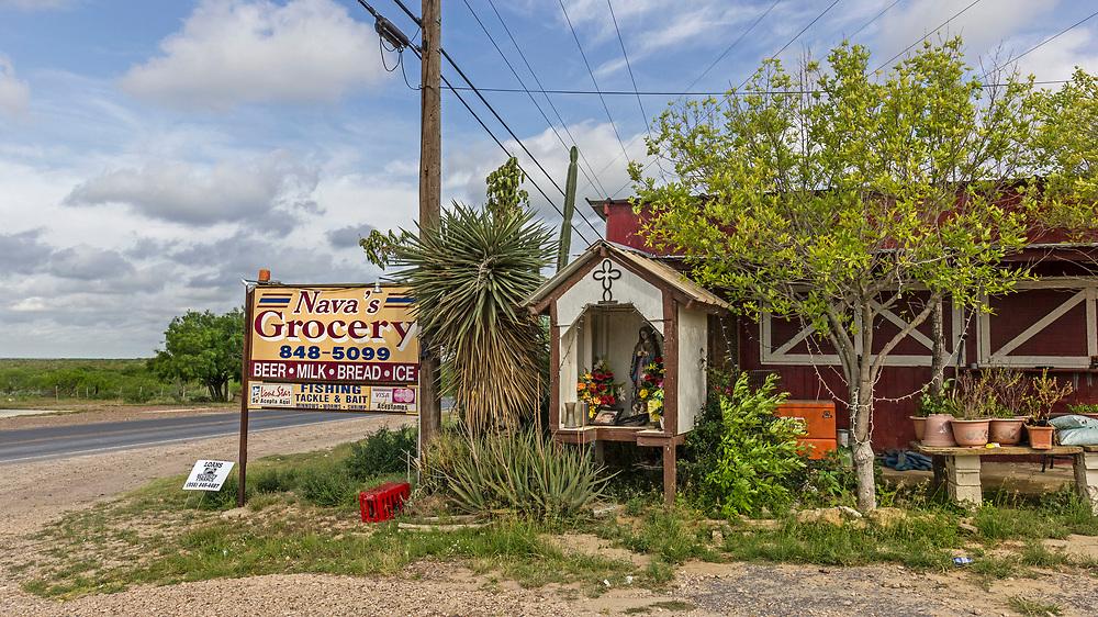 Nava's grocery store, with family shrine, Zapata County, Texas, USA