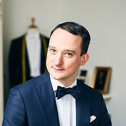 Paris, France. January 30, 2017. Julien Scavini posing in his tailor shop in Paris. He's wearing one of his suits. Photo: Antoine Doyen