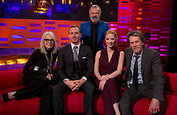 (left to right) Diane Keaton, Michael Fassbender, Graham Norton, Jessica Chastain and Kevin Bacon during the filming of the Graham Norton Show at The London Studios, to be aired on BBC One on Friday.